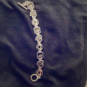 Silver Tone Black Enamel Brighton Heart Bracelet